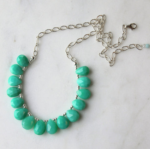 Green Chrysoprase Gemstone Bib Necklace