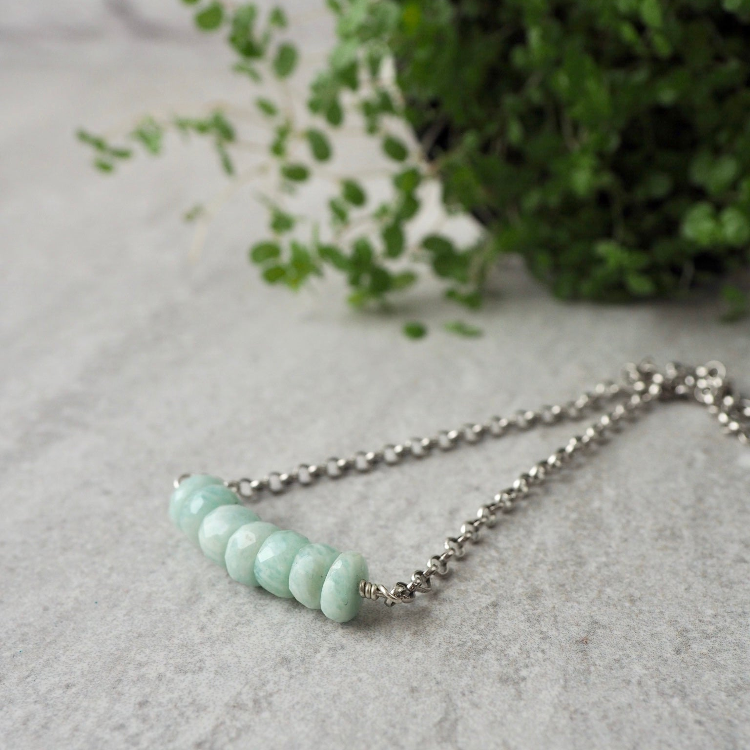 Amazonite Gemstone Bar Necklace made in Canada