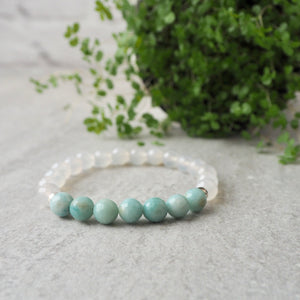 Amazonite and Quartz Gemstone Bracelet by Wallis Designs
