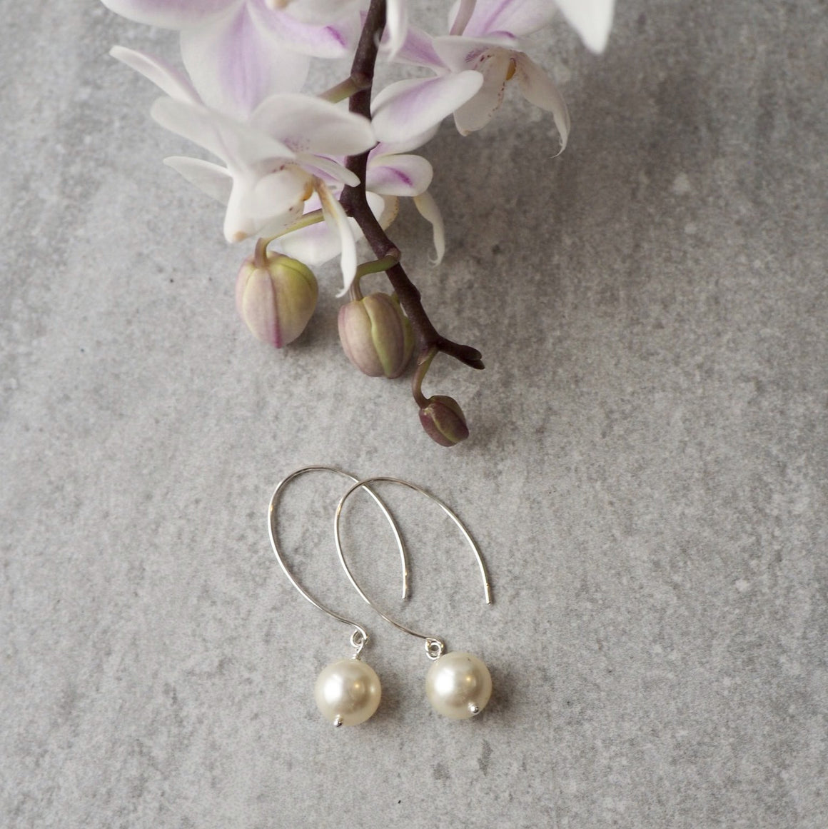 Modern Pearl Sterling Silver Earrings by Nancy Wallis Designs