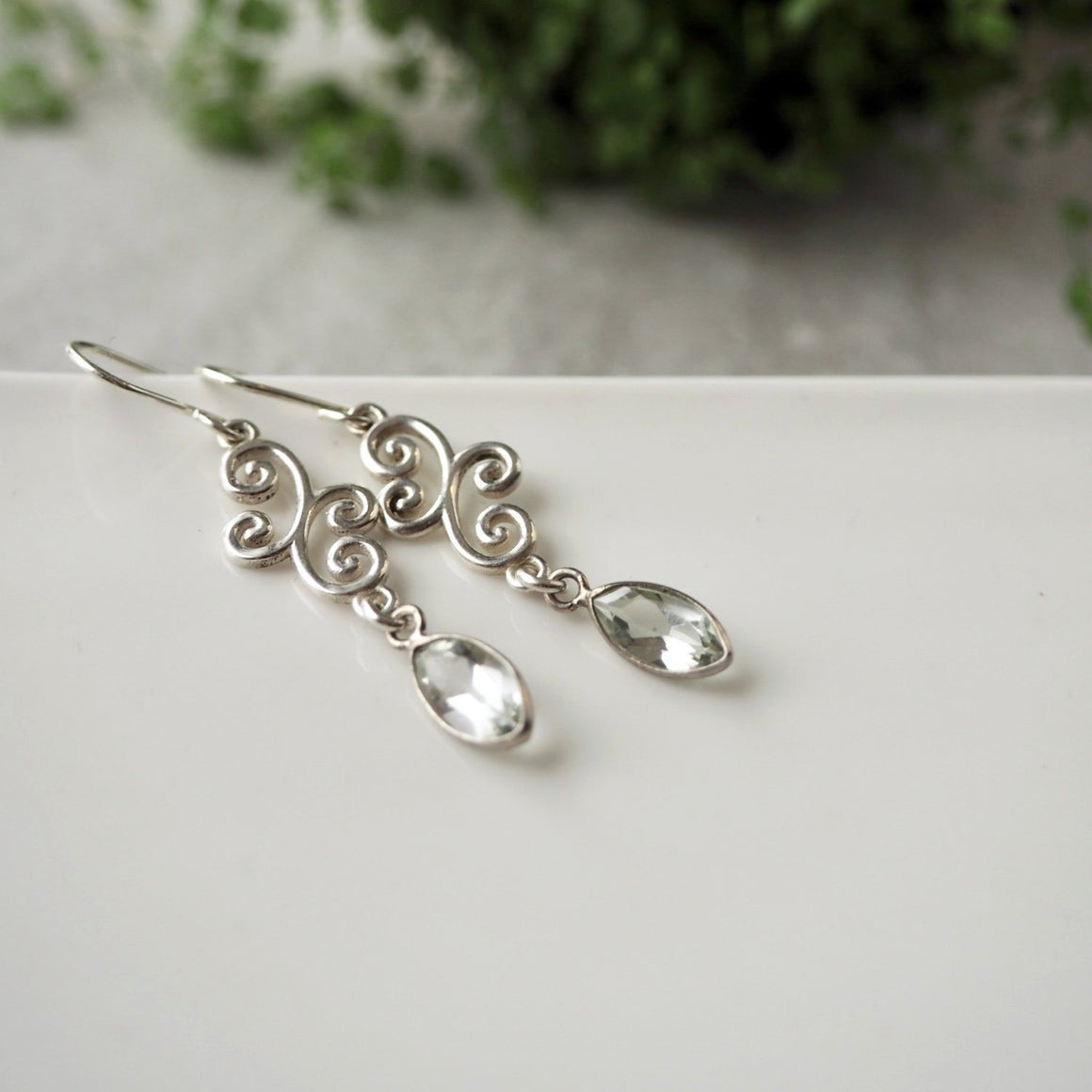 Green Amethyst Sterling silver earrings by Nancy Wallis Designs