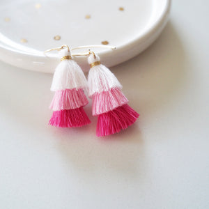 pink tassel earrings with gold earwires