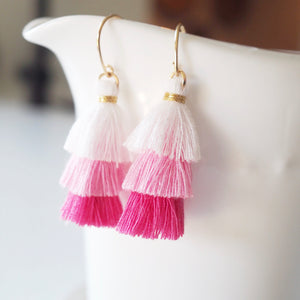 Pink Tassel earrings by Nancy Wallis Designs