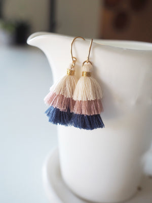 Three Tiered Tassel Earrings - Navy