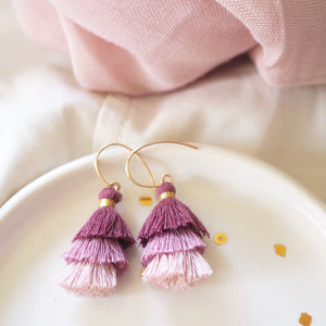 Three Tiered Tassel Earrings - Muted Plum