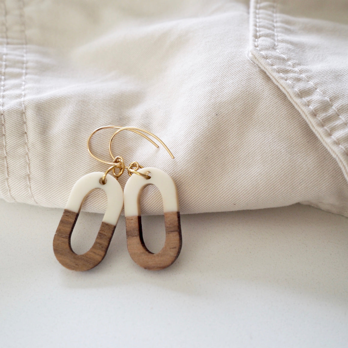 Cream and Wood Oval Earrings