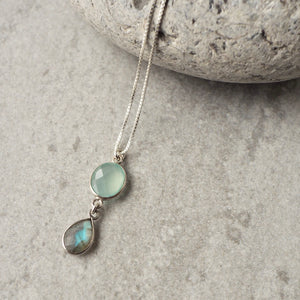 Aqua Chalcedony and Labradorite Sterling Silver Necklace