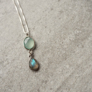 Gemstone Necklace with Chalcedony and Labradorite