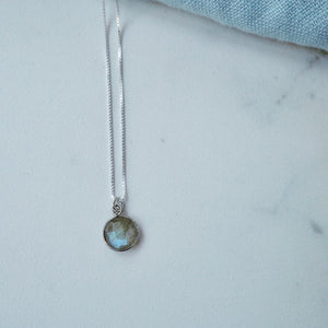 Labradorite Drop Silver Necklace