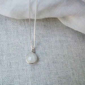 Moonstone Drop Silver Necklace
