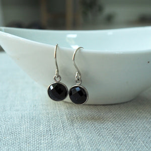 Black Onyx Moon Drop Earrings