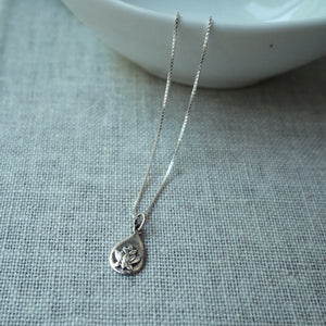 Lotus Charm Silver Necklace