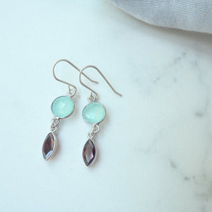 Aqua Chalcedony and Garnet Gemstone Earrings