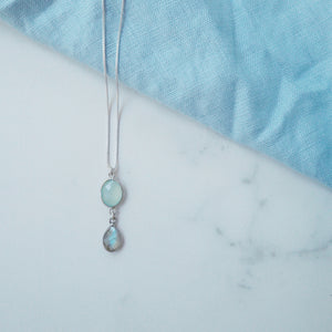 Aqua Chalcedony and Labradorite Double Gemstone Necklace