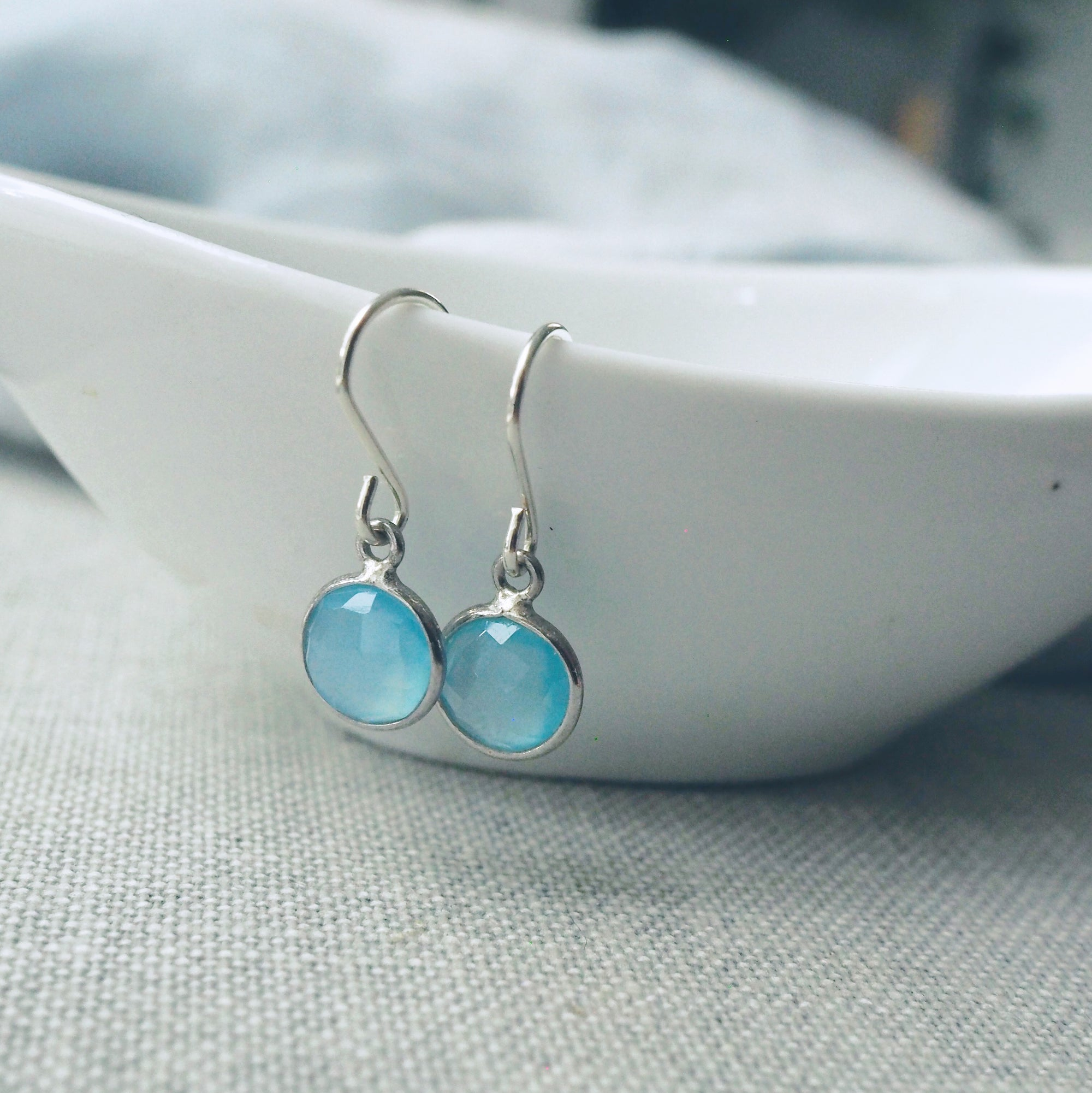 Blue Chalcedony Moon Drop Earrings
