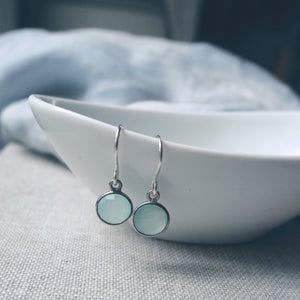 Aqua Chalcedony Moon Drop Earrings
