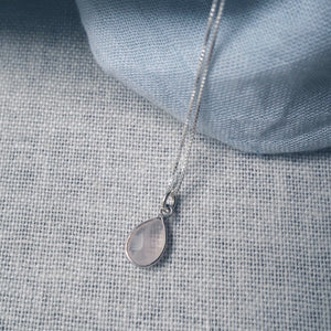 Rose Quartz Teardrop Silver Necklace