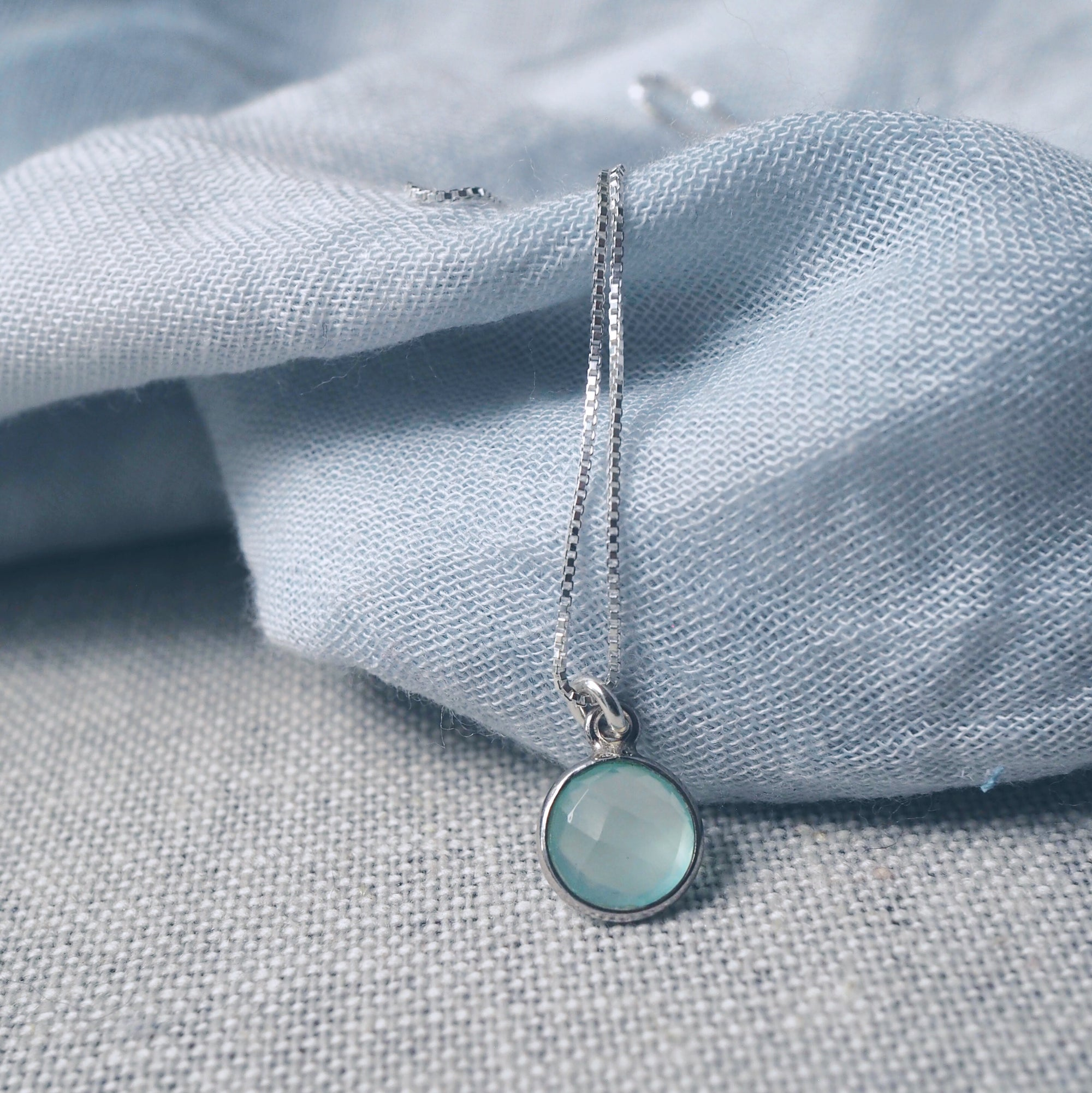 Aqua Chalcedony Drop Silver Necklace