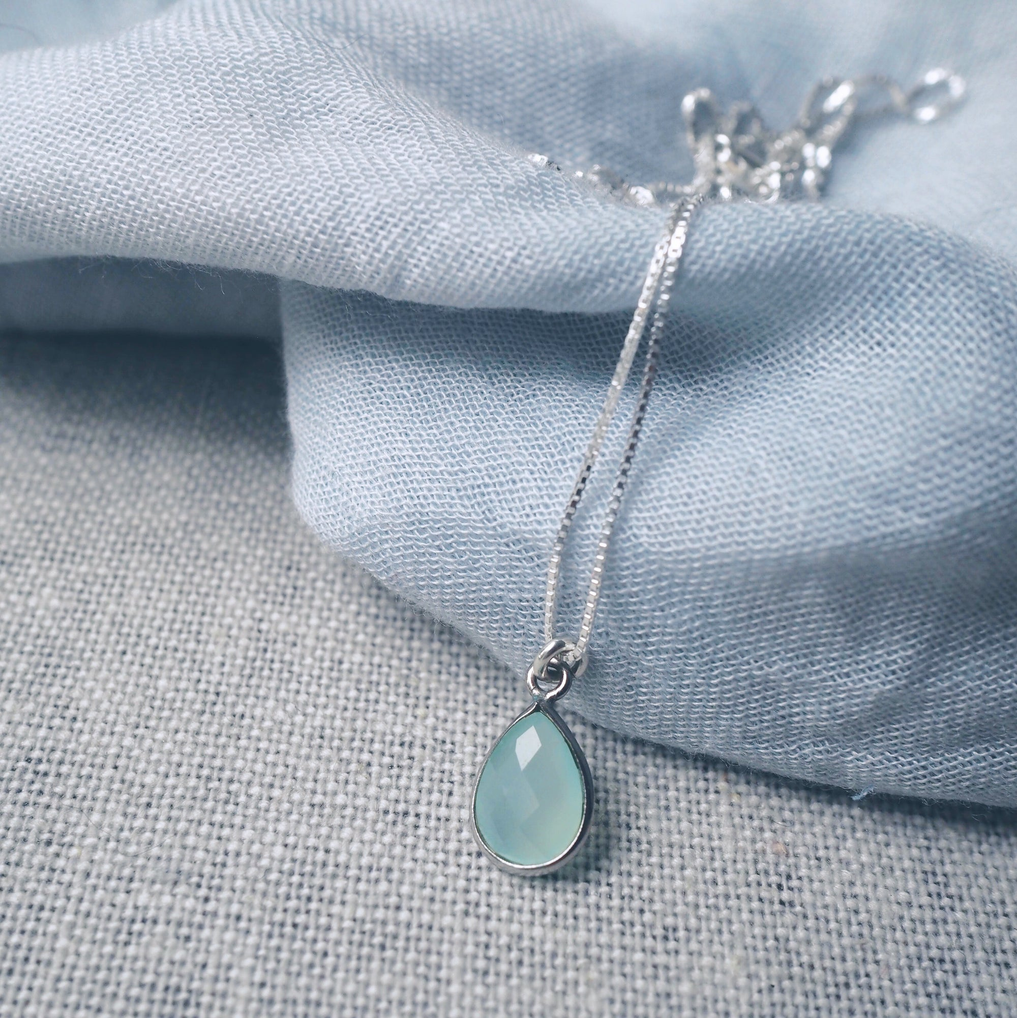 Aqua Chalcedony Teardrop Necklace