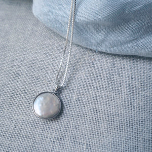 Full Moon Pearl Drop Necklace