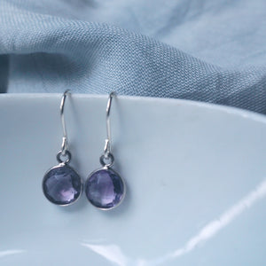 Amethyst Moon Drop Earrings