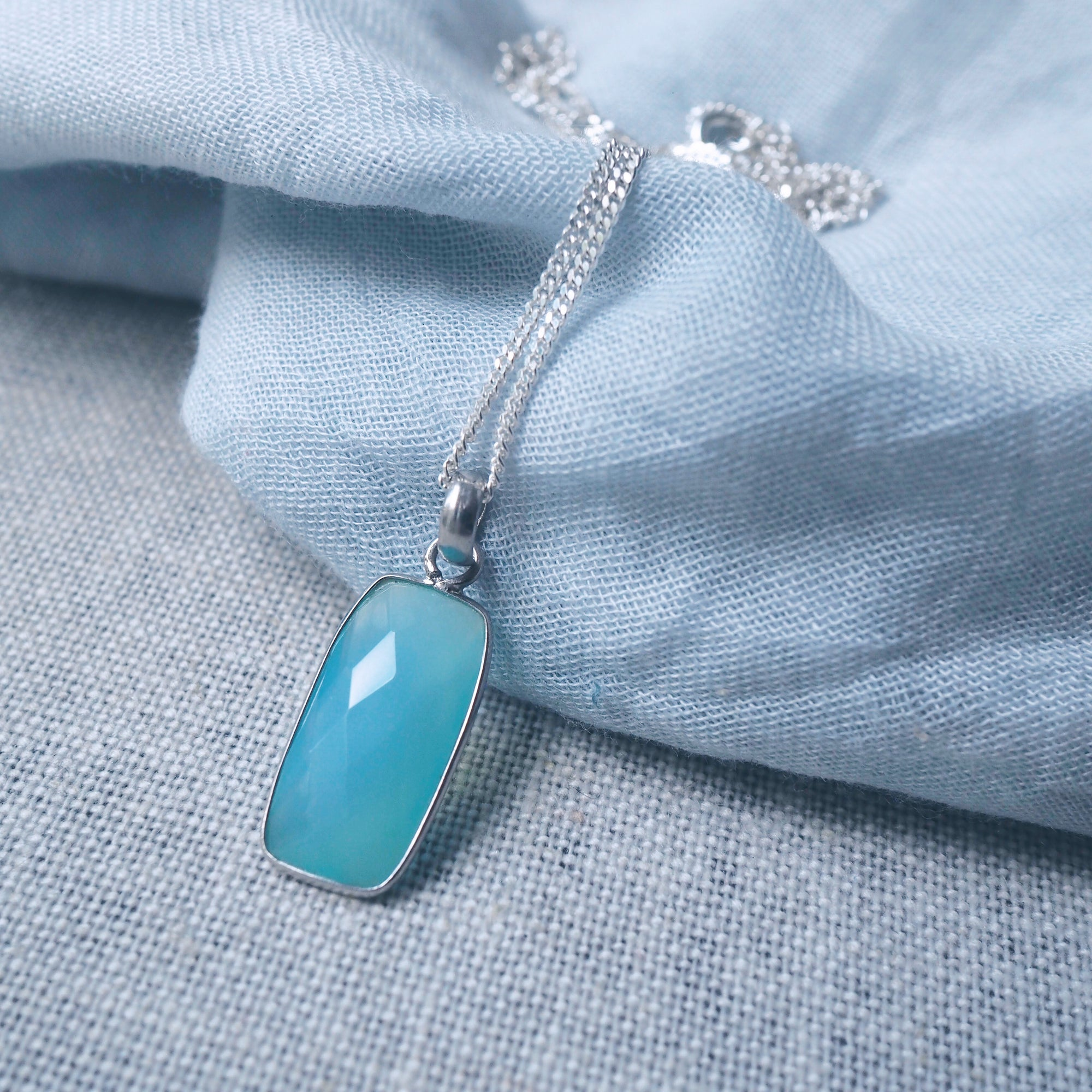 Blue Chalcedony Rectangular Necklace