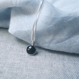 Black Onyx Drop Silver Necklace