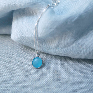 Blue Chalcedony Drop Silver Necklace