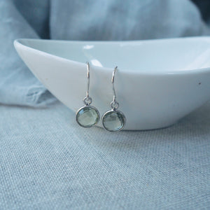 Green Amethyst Moon Drop Earrings