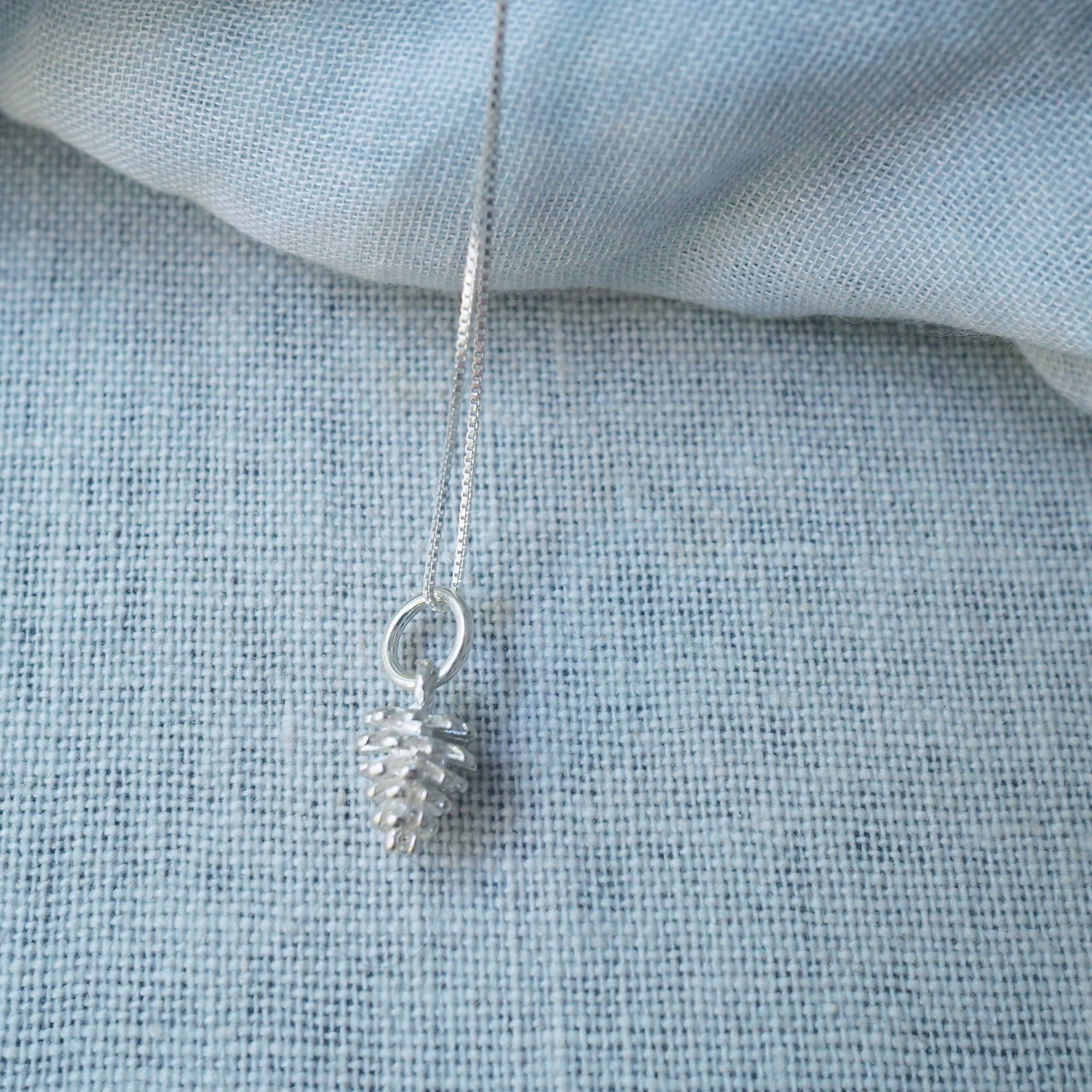 Pinecone Charm Silver Necklace