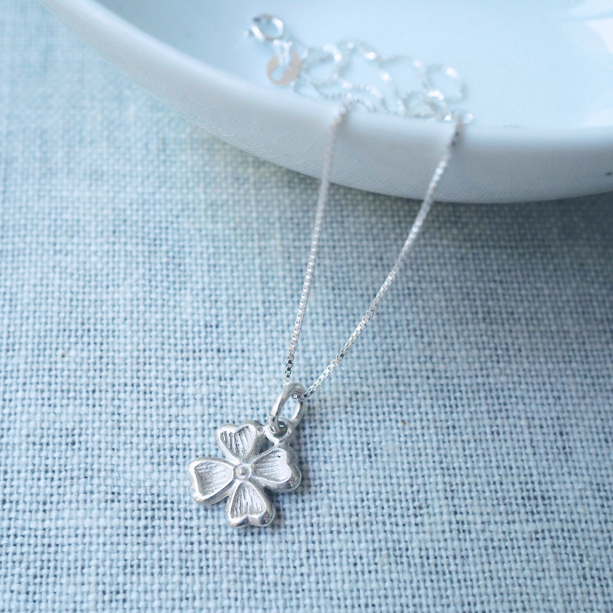 Clover Charm Silver Necklace