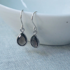 Smokey Quartz Teardrop Earrings