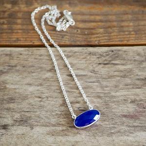 Blue Chalcedony Gemstone Sterling Silver Necklace