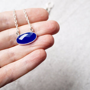 Blue Gemstone Necklace with Sterling Silver Chain