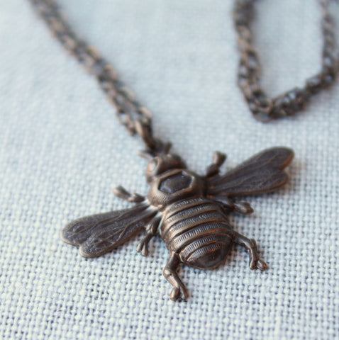 Brass Bee Necklace