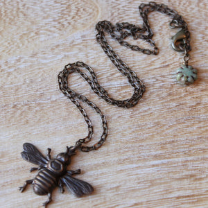 Brass Bumble Bee Necklace