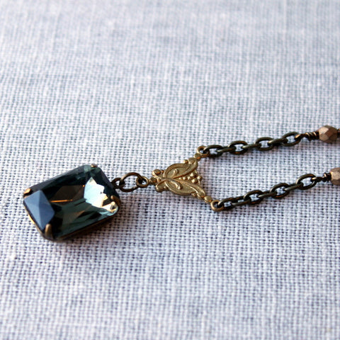 Black Diamond Rhinestone Necklace
