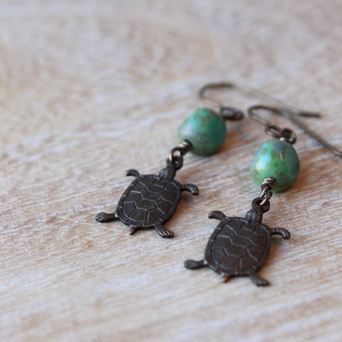 Brass Turtle Earrings by Nancy Wallis Designs
