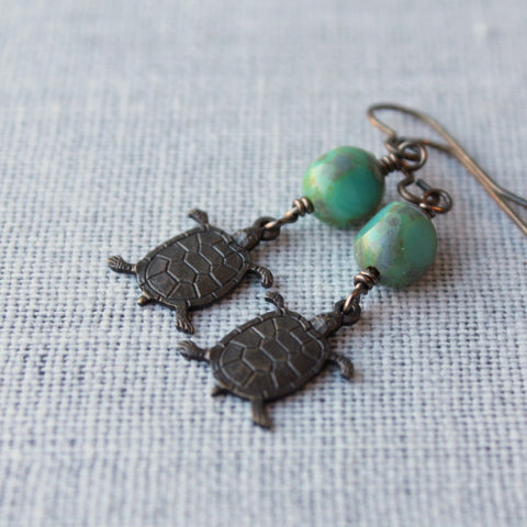 Turtle Pond Bohemian Brass Earrings