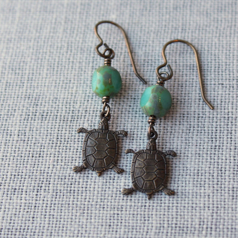 Brass Turtle Earrings made in Canada