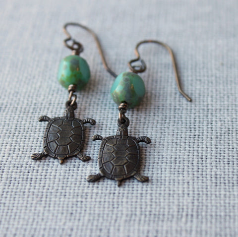 Bohemian Brass Turtle Earrings