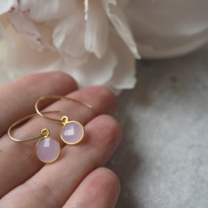Rose Chalcedony Gemstone Earrings with Gold Earwires