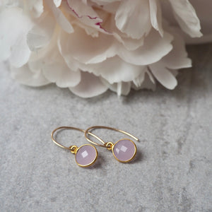 Sweet Pink Chalcedony Gemstone Earrings by Wallis Designs