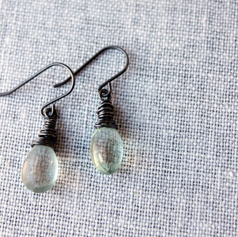 Oxidized silver gemstone earrings