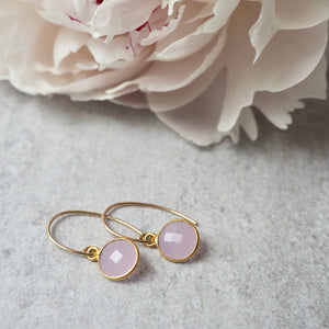 Rose Chalcedony Gold Earrings by Wallis Designs