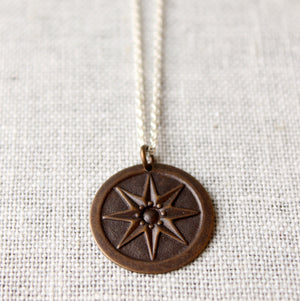 Compass Star Mixed Metal Necklace