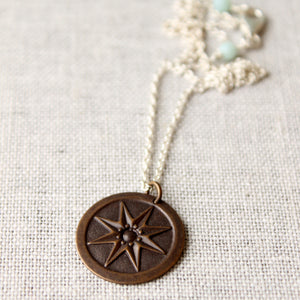 Compass Rose Mixed Metal Necklace
