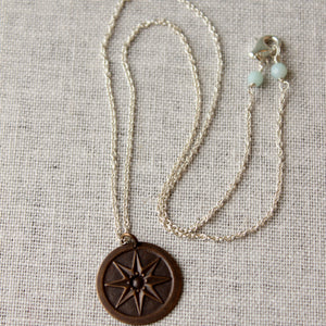 Sterling Silver and Brass Compass Pendant Necklace