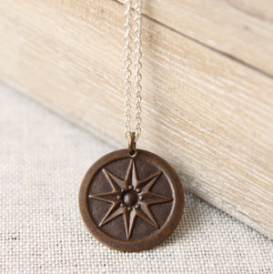 Compass Rose Brass Pendant with Sterling Silver