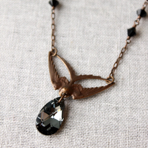 Swoop - Brass Swallow and Black Diamond Crystal Necklace